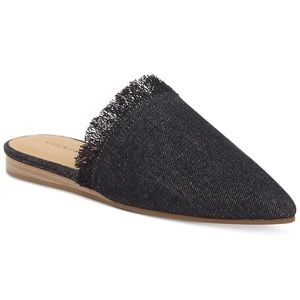 Lucky Brand Bapsee Mule Flat Black Dark Denim NEW